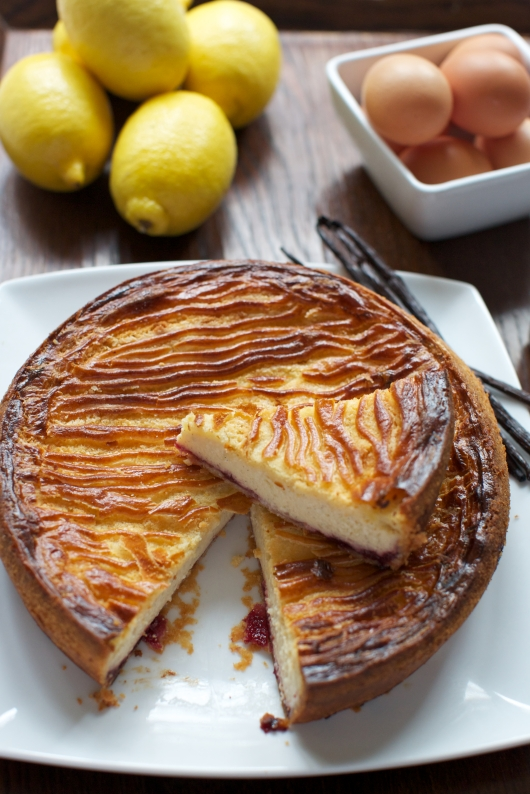 Basque custard and black cherry pie